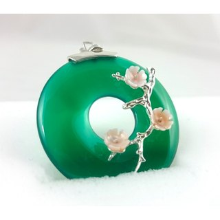 READ Dazzling 花月月下 | Green Onyx Bellflower 925 sterling silver pendant