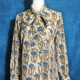 Ping pong ancient [ancient shirt / elegant blue flower bow tie long-sleeved ancient shirt] abroad back VINTAGE