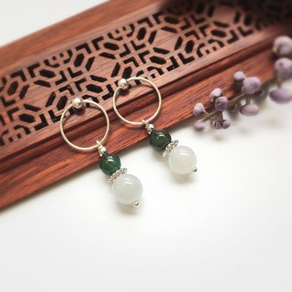 [People's treasure box] - 娴妃-natural jade beads embellished with pure silver earrings