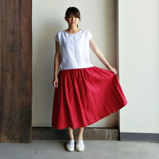 Spot flat mouth fold dress long skirt linen red