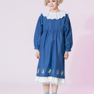 : EMPHASIZE chest pressure pleated hem oval flower embroidery dress - blue
