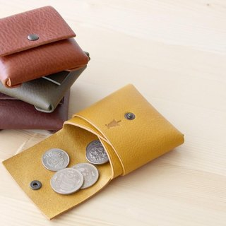 1 piece leather coin case chocolate Italian leather coin case # choco