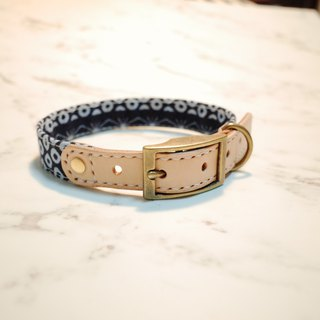 Dog M collar, dark blue love, leopard, leopard, bell, plus purchase tag