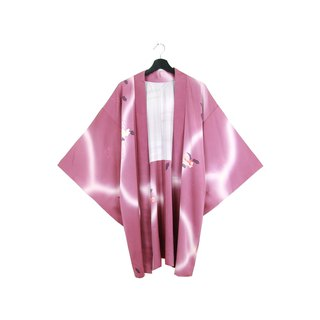 Back to Green Japanese Back Purple Orchid Water Ripple Vintage kimono