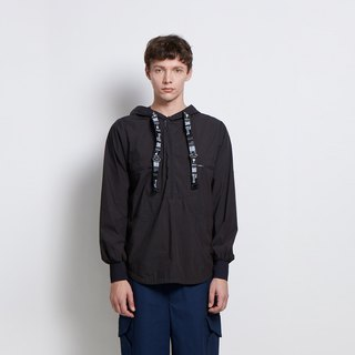 Light travel - Hooded half-sleeved double patch pocket jacket - black