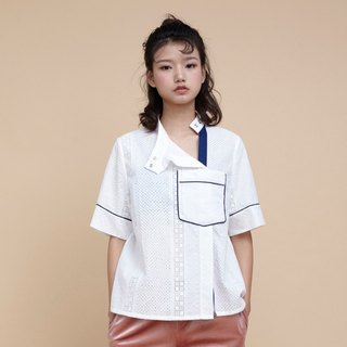 kitann ino small collar shirt hit color cotton embroidered trim