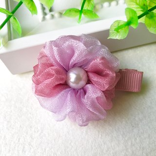 Symphony pearl yarn small flower bangs hairpin / whitefly