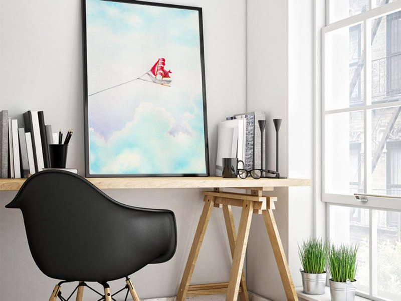 【Flying Yacht】Limited Edition Sky Watercolor Art Print. Kids Room Wall Decor.