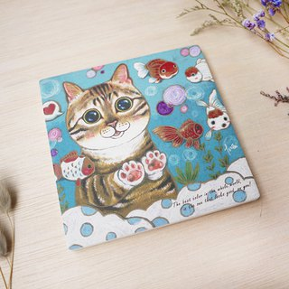 Have fun together - cat absorbent coaster