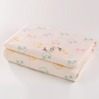 [Made in Japan Sanhe Kapok] Six Gauze Quilts - Rainbow Macarons Panda L