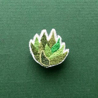 Mini hand-embroidered brooch / pin succulent aloe crocodile tail