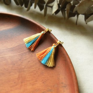 *Coucoubird*party - three-color tassel earrings / orange blue yellow