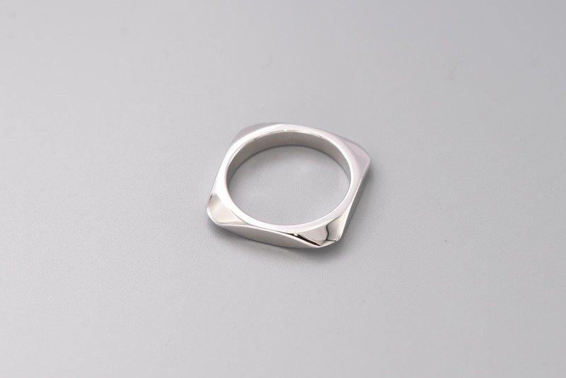 方形稜角銀戒指 簡約工業風 情侶戒指