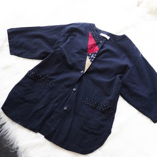 River Water Mountain - Tokyo Dark Black Blue Zen Day and literary girl antique cotton shirt jacket