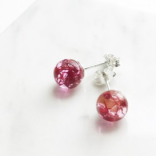 Real flower Red Gypsophila sphere glass S925 silver earrings