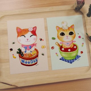 ChinChin painted cat postcards - Japanese noodles / red bean dumplings (two into a group)