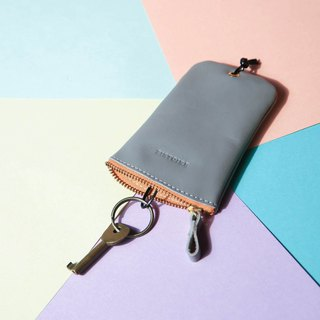 [Keys' Sweet Home / Key Case] ​​ZiBAG-031/ fog grey (yellow zipper) Misty Gray