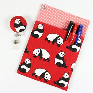 Physician gowns leakproof pocket pouch ink pen documents folder + - Panda (red)