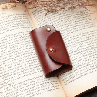 Minimal coffee red hand dyed yak leather handmade copper hardware car wafer key package