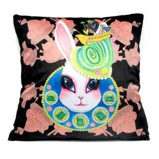 """Gookaso"" black bunny cartoon printed pillow 45x45cm Queen original design"