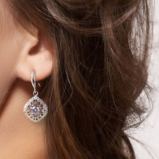 Crystal Diamond Fire Earrings 925 Sterling Silver