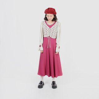 [Egg plant vintage] lace tea fake two-piece vest vintage dress