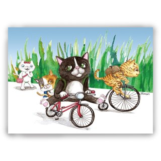 Hand-painted illustration Universal / postcards / cards / illustration card - Kittens ride to school
