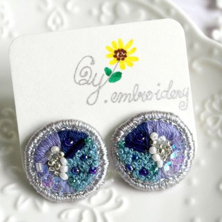 Qy.embroidery round sea blue sequins hand-embroidered earrings ear clips