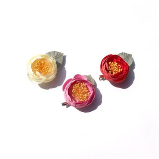 【Sang Sang】 【Dyeing】II. Hand made camellia hairpins. Silk flower / hair accessories.