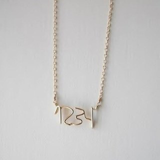 Hand writing number (number) 4 digit necklace