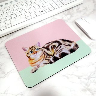 Cute Cat Mouse Pad Pretty Desk Mat Animal Illustration Office Decor
