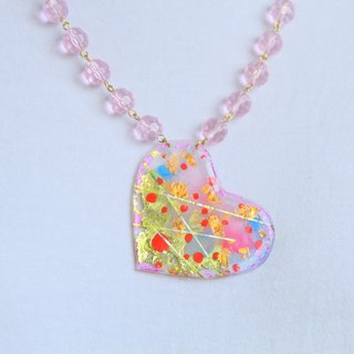 Brighting WHITE - back light color - color hand-painted crystal particles glossy baking heart-shaped pearl necklace