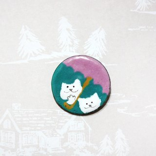 Walking in the rain of white / pink umbrella --- enamel pins