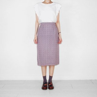 Purple pattern chiffon vintage high waist and knee skirt BK2027