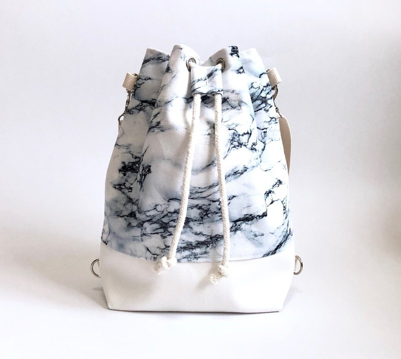 Marbled 3way Bundle Bucket Bag (Hand/Shoulder/Back)