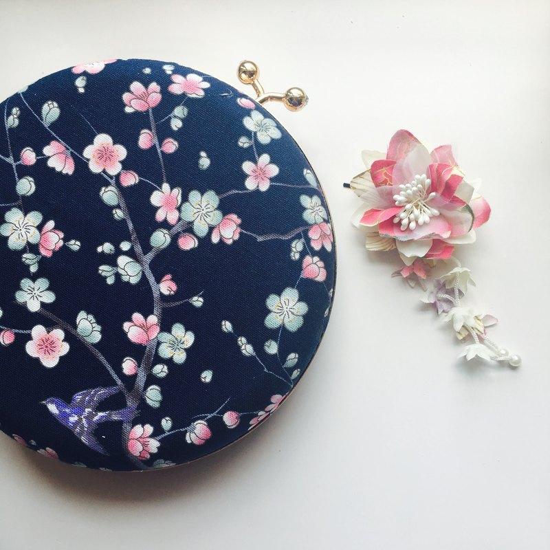 深藍日式櫻花純棉布小圓包 - 可手拿/ 斜揹兩用