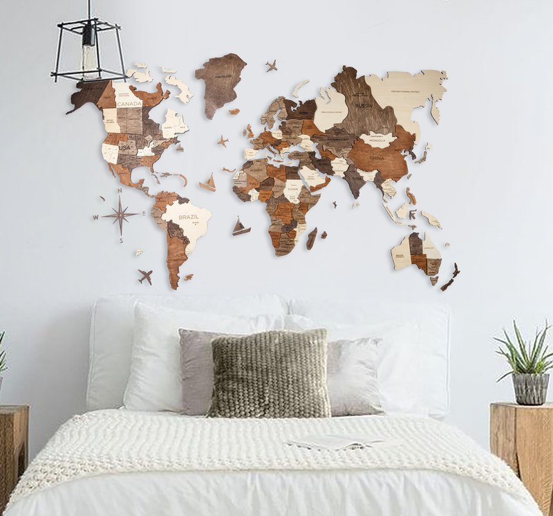 Wood World Map, Home Decor, World Map, 3D Printed Map, Wall Decor