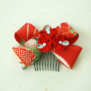 """New color"" knife's hair ornament Using an old cloth 【Ribbon / red red】"