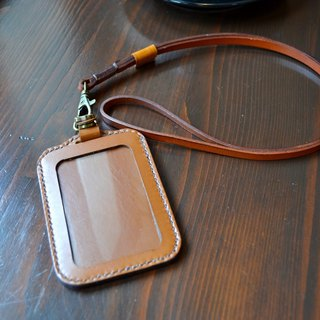 Leather vegetable tanned leather hand-made ID holder identification sleeve with leather rope can be customized color printing English word