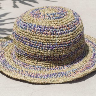 Hand-knitted cotton and linen cap knit hat fisherman hat sun hat straw hat - mustard gradually rainbow garden