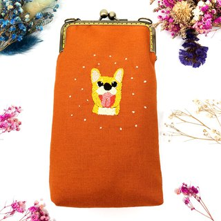 Embroidered gold mobile phone case