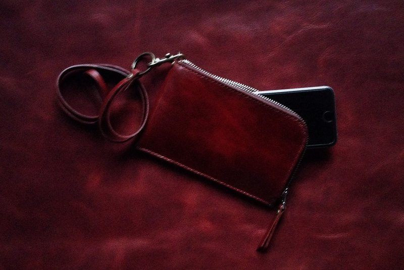 HUANGS 艸一田Iphone European vegetable tanned leather hand bag neck bag purse
