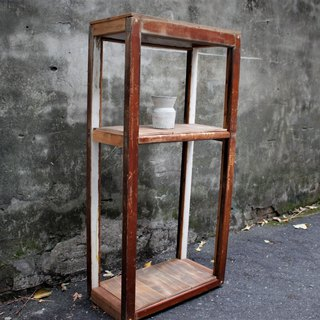 Waste wood wooden hand made three-tier cabinet