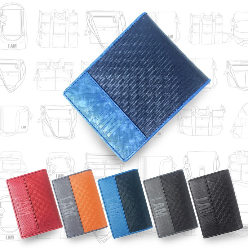 Free shipping to buy one get one free I AM-leather short clip (blue) Send business card holder 1280 yuan (five colors optional)