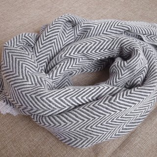 Cashmere Stripes Shawl / Scarf / Stole Handmade from Nepal thick_v_Dark grey