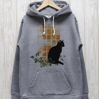 Standing black cat Parker Window side SUNSET (Heather Gray) / RPP 01 - GR