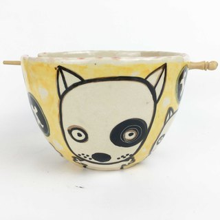 Nice Little Clay handmade bowl _ black round dog 0201-10