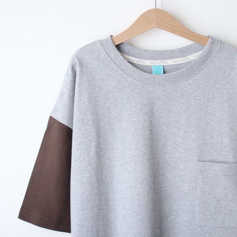 Short version loose loose shoulder cotton plain pocket Tee - coffee * hemp gray