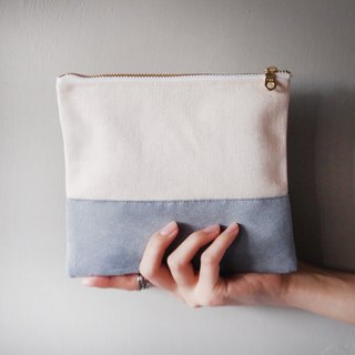 Suede stitching storage bag gray