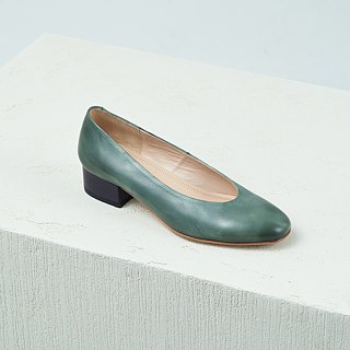 H THREE round head 3.4 heel / green ash / heel / leather shoes